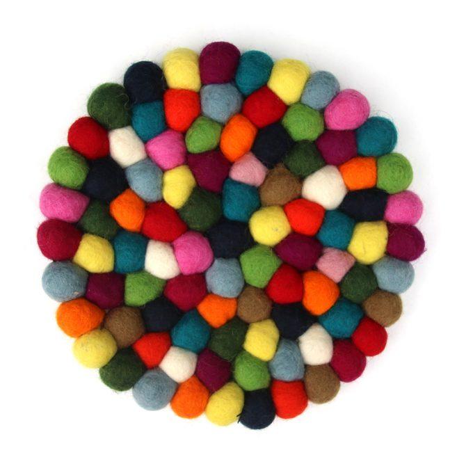 Vilten Onderzetter 20 cm rond multicolor